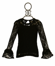 Jak and Peppar Black Lace Top (2T,4,5,6,6X)