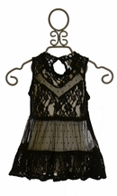 Jak and Peppar Black Lace Top Celeste (2T,3T,4,6)