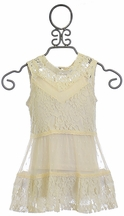 Jak and Peppar Celeste Girls Lace Top in Vanilla