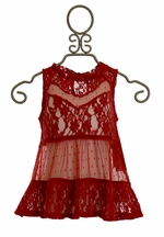 Jak and Peppar Celeste Top Lace Crimson (4T,4,5,8,10)