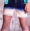 Jak and Peppar Cutoff Shorts for Girls with Lace Trim
