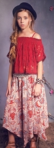Jak and Peppar Daytripper Top for Girls in Berry Lace