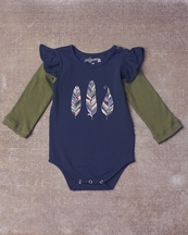 Jak and Peppar Feather Romper for Baby in Navy
