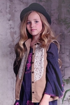 Jak and Peppar Girls Button Down Fray For You in Lace