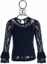 Jak and Peppar Girls Navy Lace Sleeve Top