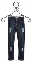 Jak and Peppar Girls Dark Wash Jeans Destroyed Skinnies (Size 14)