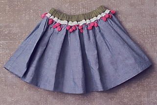 Jak and Peppar Girls Light Blue Skirt with Pom Poms