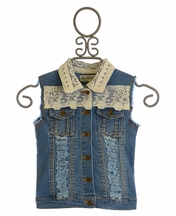 Jak and Peppar Girls Party All Day Denim Vest (4,6,6X)