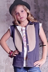 Jak and Peppar Girls Slate Gray Fray Button Down