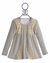 Jak and Peppar Girls Tunic in Charcoal Vanilla Faithfully Yours (Size 10)