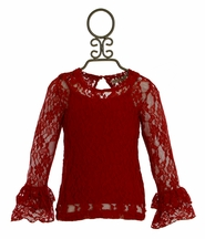 Jak and Peppar Lace On My Mind Top Red (4T,4,5,6,12)