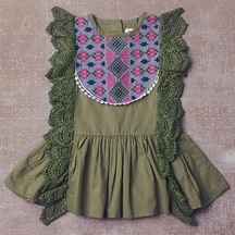Jak and Peppar Maya Tunic for Girls in Olive Green