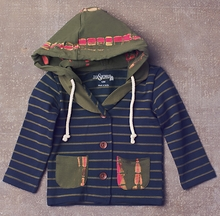 Jak and Peppar Navy Jacket with Stripes for Girls