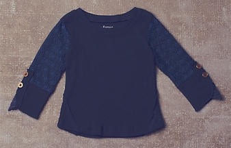 Jak and Peppar Romey Henly Girls Top in Navy