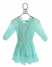 Jak and Peppar Tween Grace Peasant Dress in Aqua (Size 12)