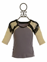 Jak and Peppar Tween Top with Lace Purple