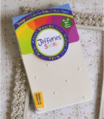 Jefferies Socks Girls Ivory Tights with Pearl Gems