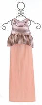 Joah Love Girls Ruffle Maxi Dress in Pink Striped