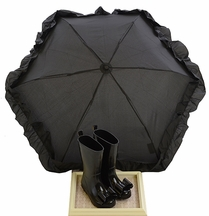 Joyfoie Stella Black Rainboots with Umbrella