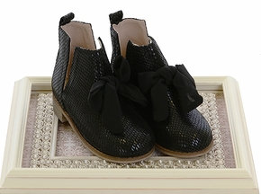 Joyfolie Black Collette Booties with Bow