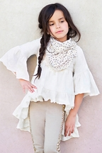 Joyfolie Boho Top for Girls in Cream (3,4,6,8)