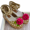 Joyfolie Mika Wedge for Girls in Polka Dot Olive
