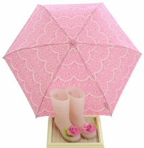 Joyfolie Pink Lace Rainboots Felicity with Umbrella