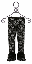 Kalliope Kids Black Lace Legging with Ruffle Hem (Size 5/6)