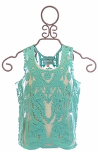 Kalliope Kids Embroidered Top in Turquoise (Size 14/16)