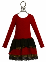 Kalliope Kids Holiday Dress in Red and Black Lace (Size 10/12)