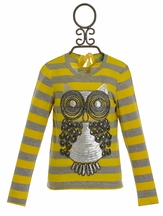 Kalliope Kids Owl Top in Yellow and Gray Stripe (Size 14/16)