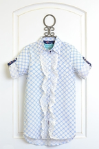Kalliope Kids Ruffle Shirt Dress in Blue and White
