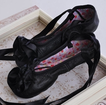 Kamara Black Leather Ballet Slippers with Flower (4i,5,7,8)