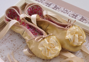 Kamara Girls Gold Ballet Slippers with Rosette (Size 5)