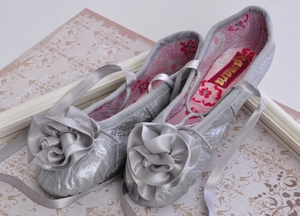 Kamara Girls Silver Ballet Slippers (4i,7,10)