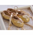 Kamara Gold Girls Leather Ballet Slippers