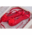 Kamara Red Girls Leather Ballet Slippers