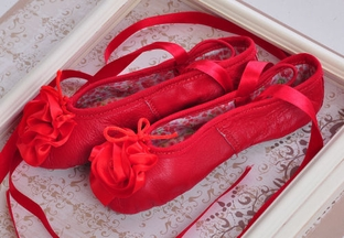 Kamara Red Girls Leather Ballet Slippers (4i & 5)