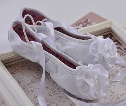 Kamara White Leather Ballet Slippers (4i,6,7,8)