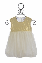 Kardashian Kids Gold Sequin Bubble Dress
