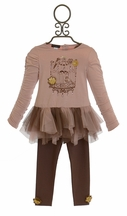 Kate Mack Bird Cage Tunic Set Heart of Gold (12Mos,18Mos,2T,4T)