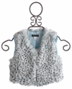 Kate Mack Blue Leopard Girls Faux Fur Vest