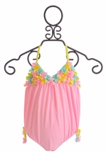 Kate Mack Bubble Swimsuit in Pink with Posies (3Mos,9Mos,24Mos)