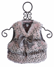 Kate Mack Girls Faux Fur Vest in Snow Leopard Print (7 & 8)