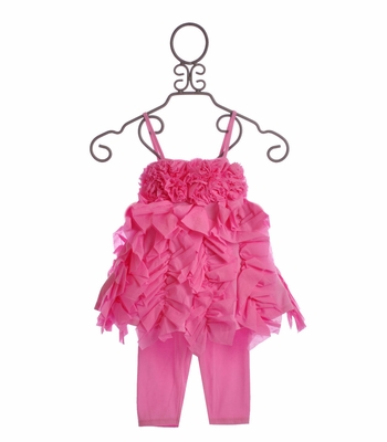 Kate Mack Girls Pink Top Set Summer Petals Ruffles