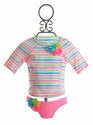 Kate Mack Girls Rash Guard Swimsuit Garden Stripe