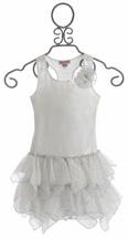 Kate Mack Girls Ruffle Dress Shimmer in Silver (4,6X,7,8)