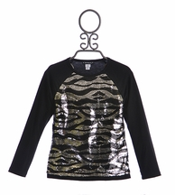Kate Mack Girls Sequin Top in Zebra Print (5,6,6X,7)