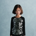 Kate Mack Girls Sequin Top in Zebra Print