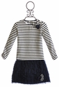 Kate Mack Girls Striped Tee with Tulle Skirt